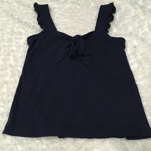J. Crew ruffle strap bow tank that gathers in back